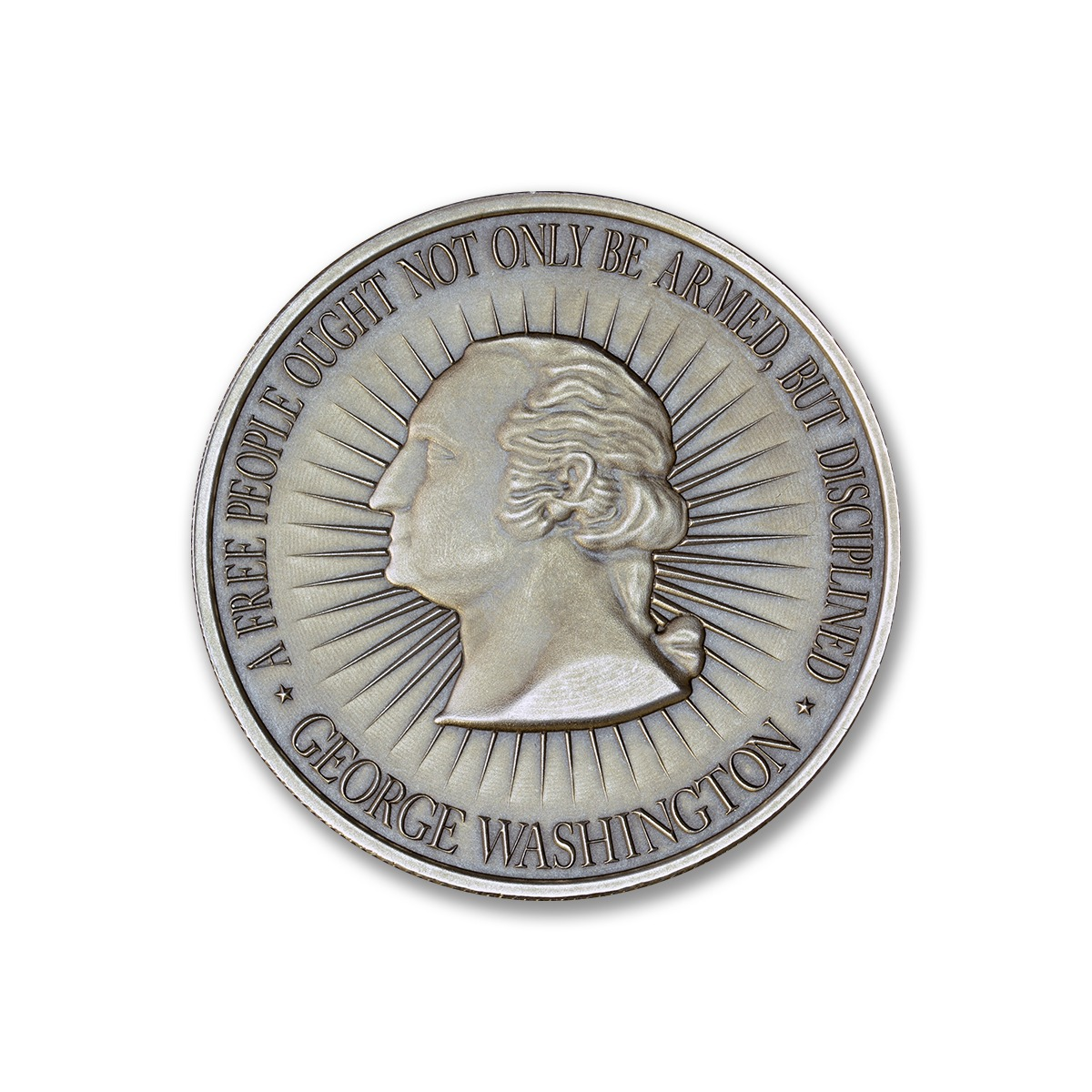Washington Bust / Bill of Rights 2A - 1 ozt. 39mm .999 Silver Art Medal (Antique Finish)