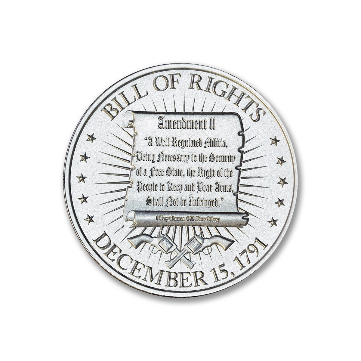 Washington Bust / Bill of Rights 2A - 1 ozt. 39mm .999 Silver Art Medal