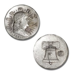 American Ancients Series - Franklin Liberty - 3 ozt. 39mm .999 Fine Silver Art Medal - Outré High Relief (PATINA FINISH) - Limited Mintage: 500