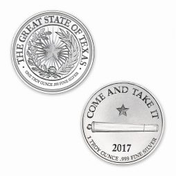 Texas Seal w/ Gonzales Cannon (Come Take It) 1 ozt. 39mm .999 Fine Silver Art Medal