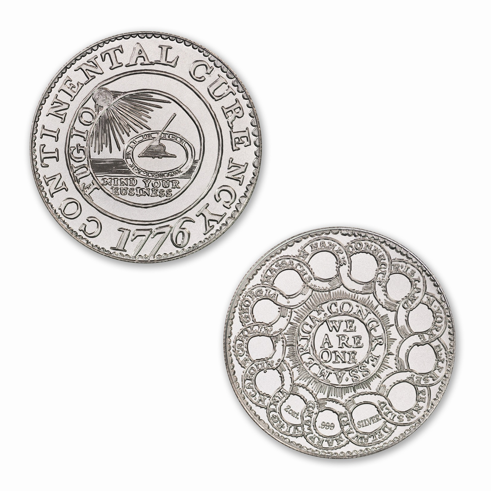 Colonial Tribute Series - The Continental Dollar – 2ozt. 39mm .999 Fine Silver Art Medal (6mm Thick)