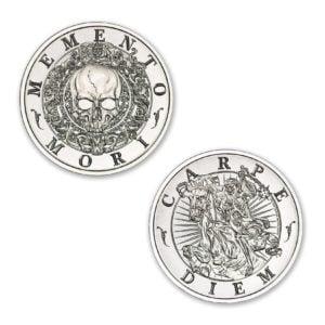"Latin Allure Series - ""Memento Mori"" Art Medal - 2ozt. 39mm .999 Fine Silver Art Medal (6mm Thick)"