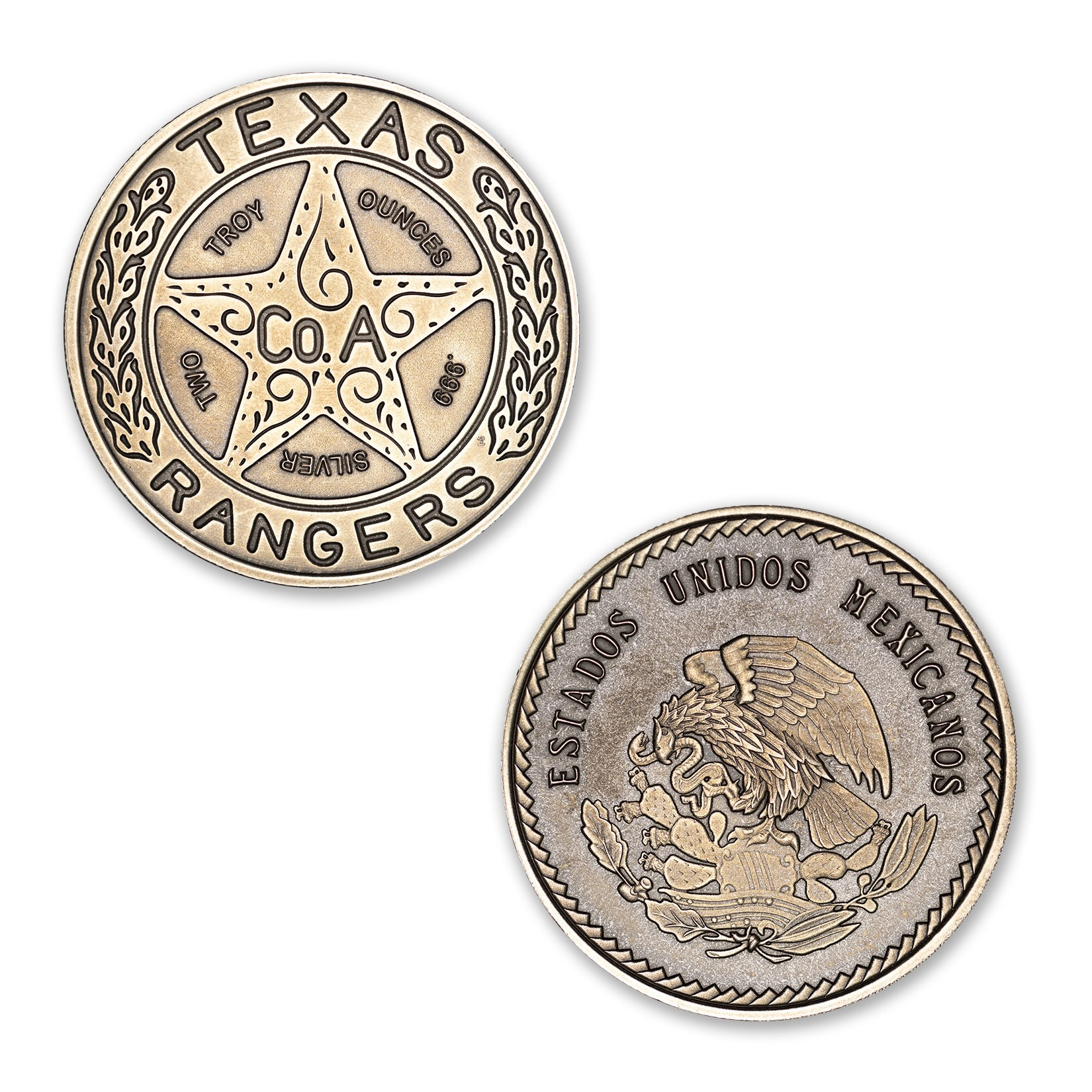 TEXAS RANGER BADGE – 2 TROY OUNCE – 39MM (ANTIQUED)