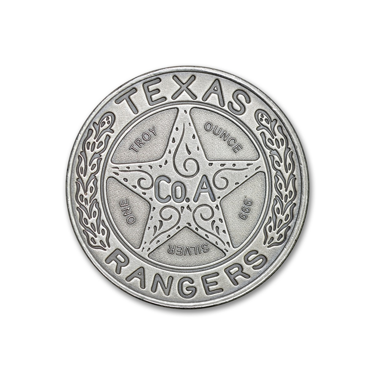 TEXAS RANGER BADGE – 1 TROY OUNCE – 39MM (ANTIQUED)