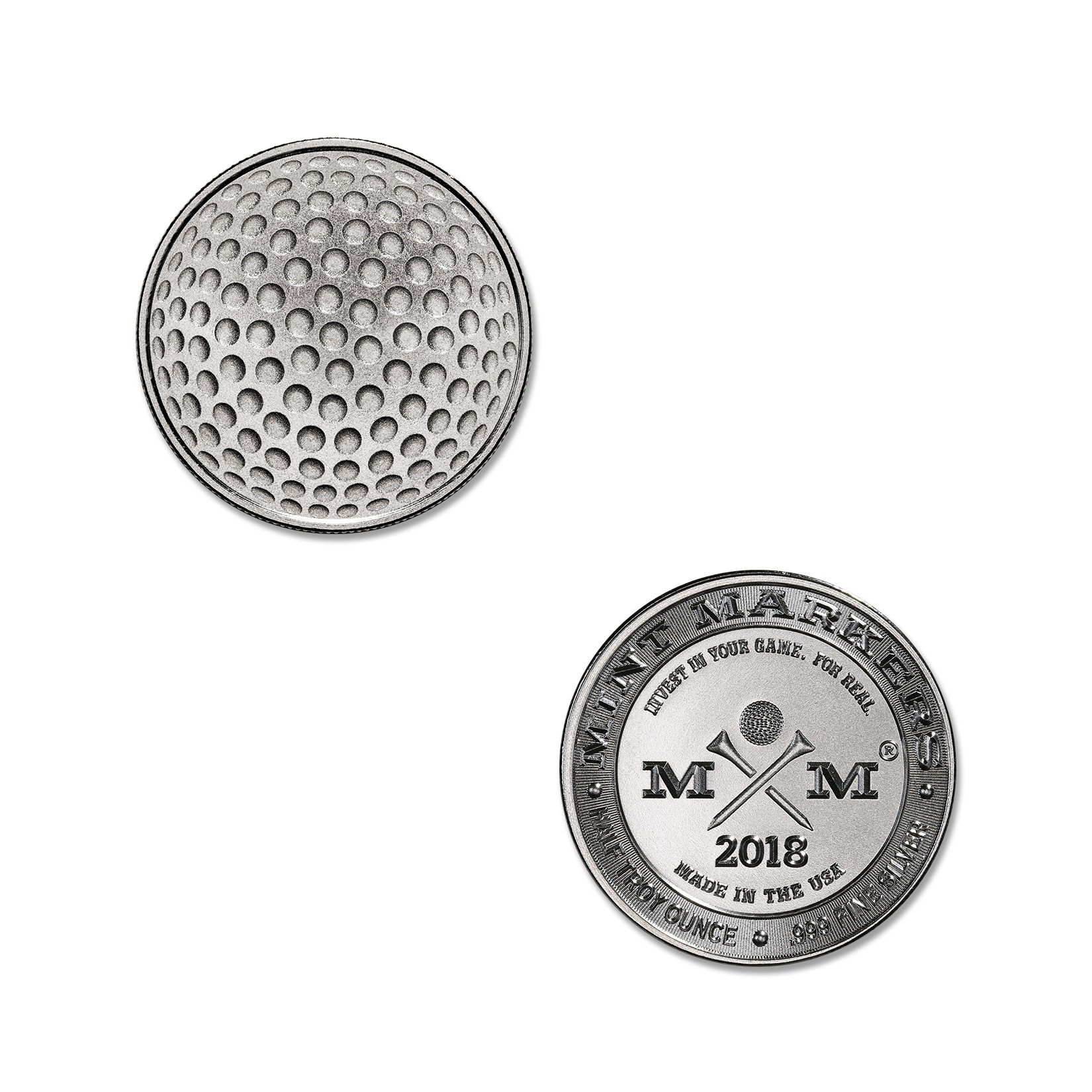 """2018 MINT MARKERS® – """"DIMPLES"""" – 1/2 TROY OUNCE – 30MM (ONLY 1,000 MINTED)"""