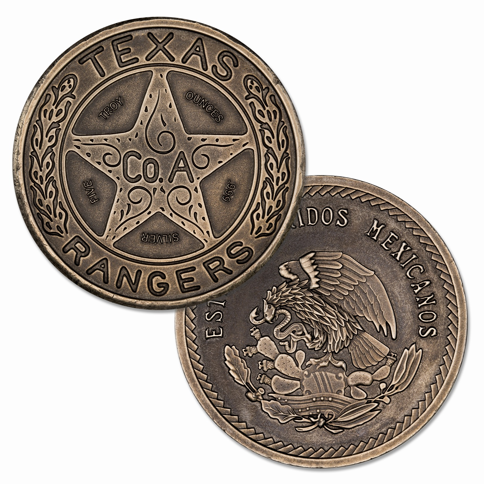 TEXAS RANGER BADGE TRIBUTE – 5 TROY OUNCE – 50MM (ANTIQUED)