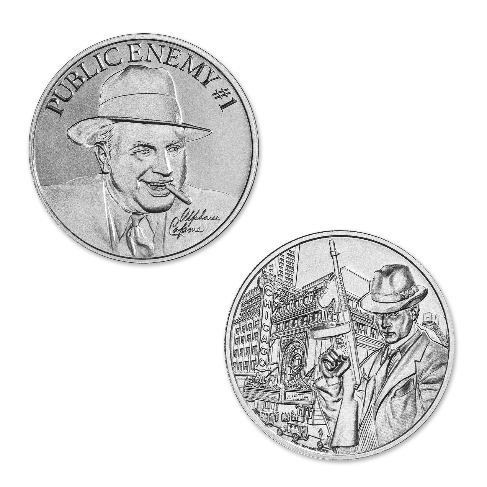 PUBLIC ENEMY #1 – ALPHONSE CAPONE –  2 TROY OUNCE – 39MM