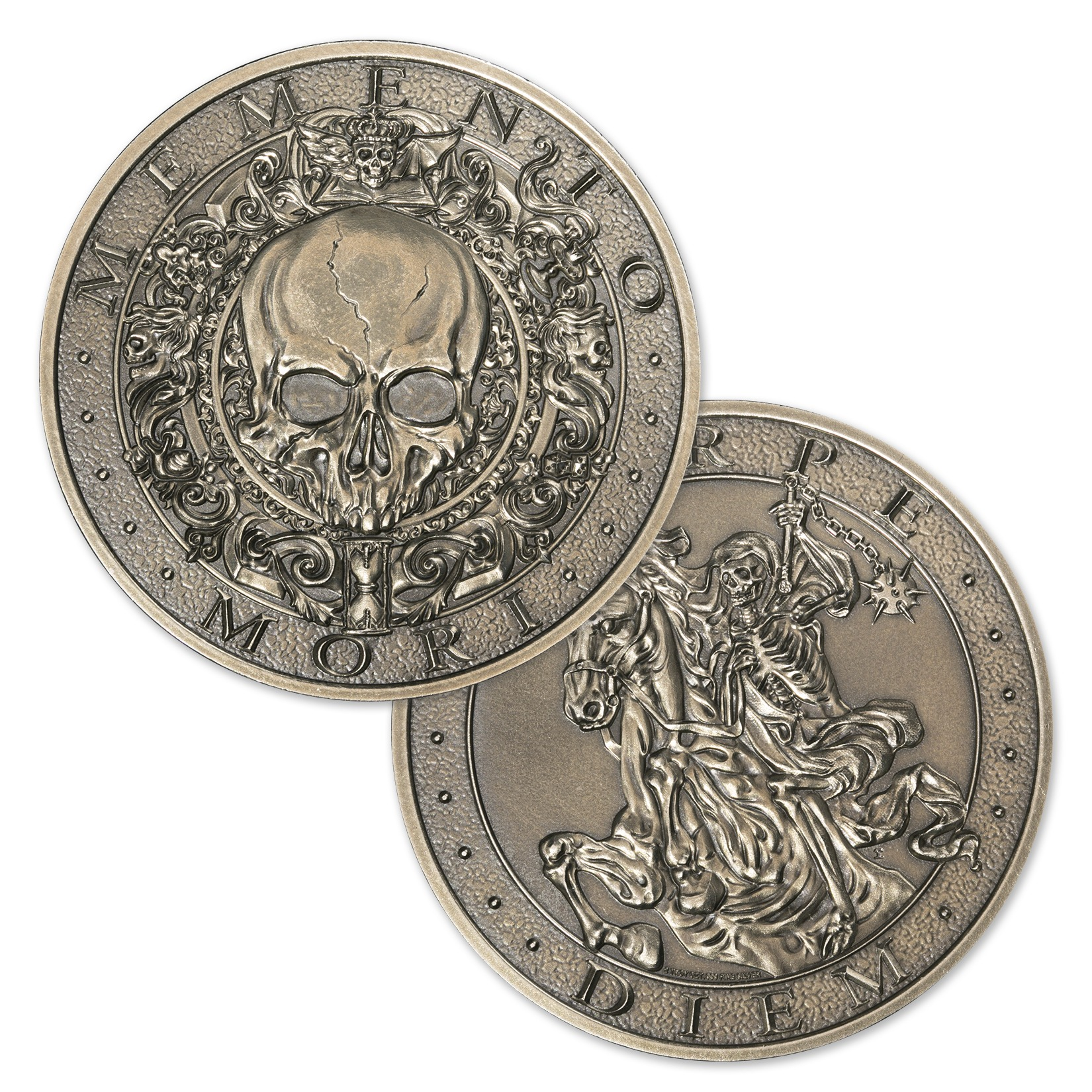 MEMENTO MORI – 2 TROY OUNCE – 50MM ANTIQUED – WITH BOX AND C.O.A. (ONLY 500 MINTED!)