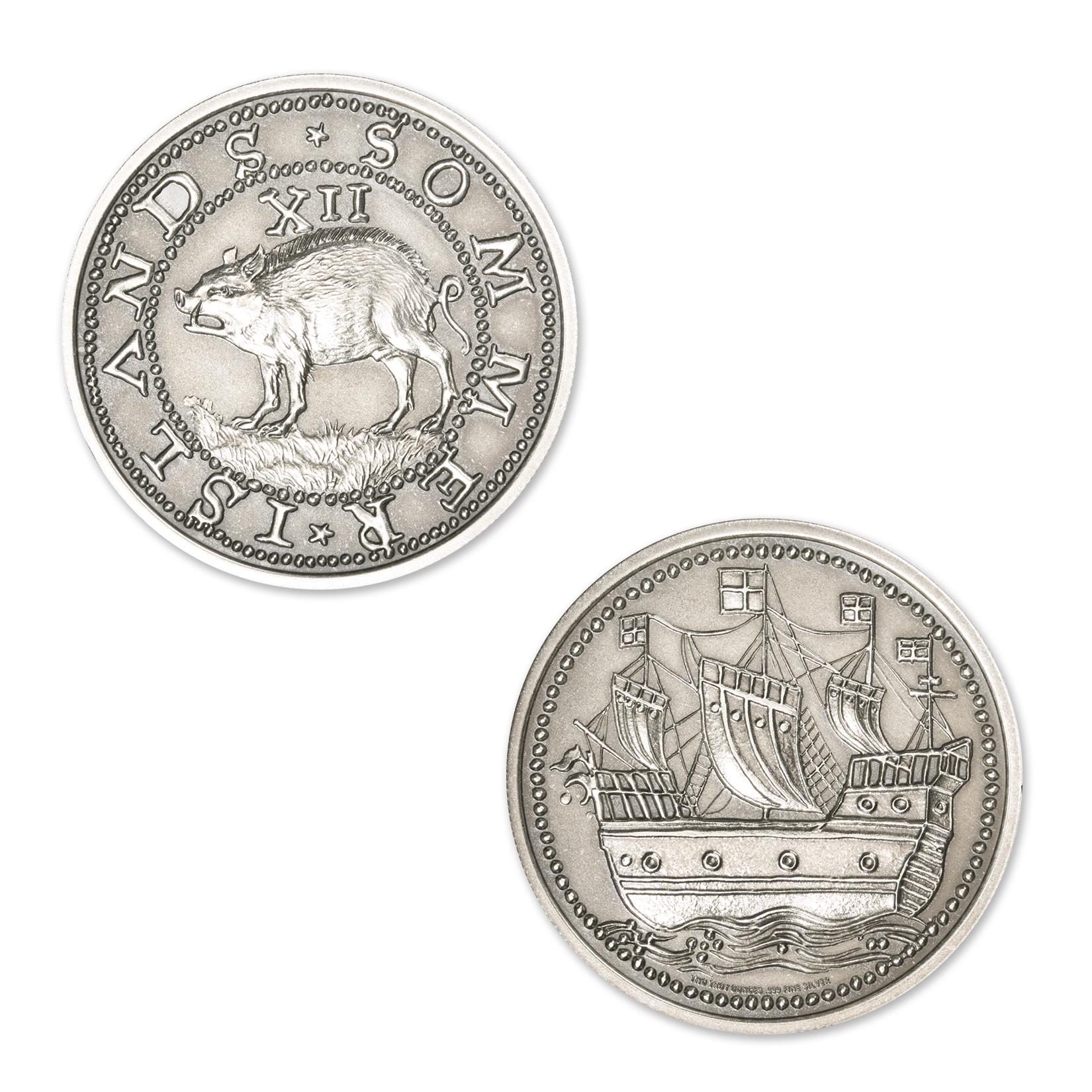 SOMMER ISLANDS TWELVE PENCE (HOGGE MONEY) – 2 TROY OUNCES – 39MM (ANTIQUED)