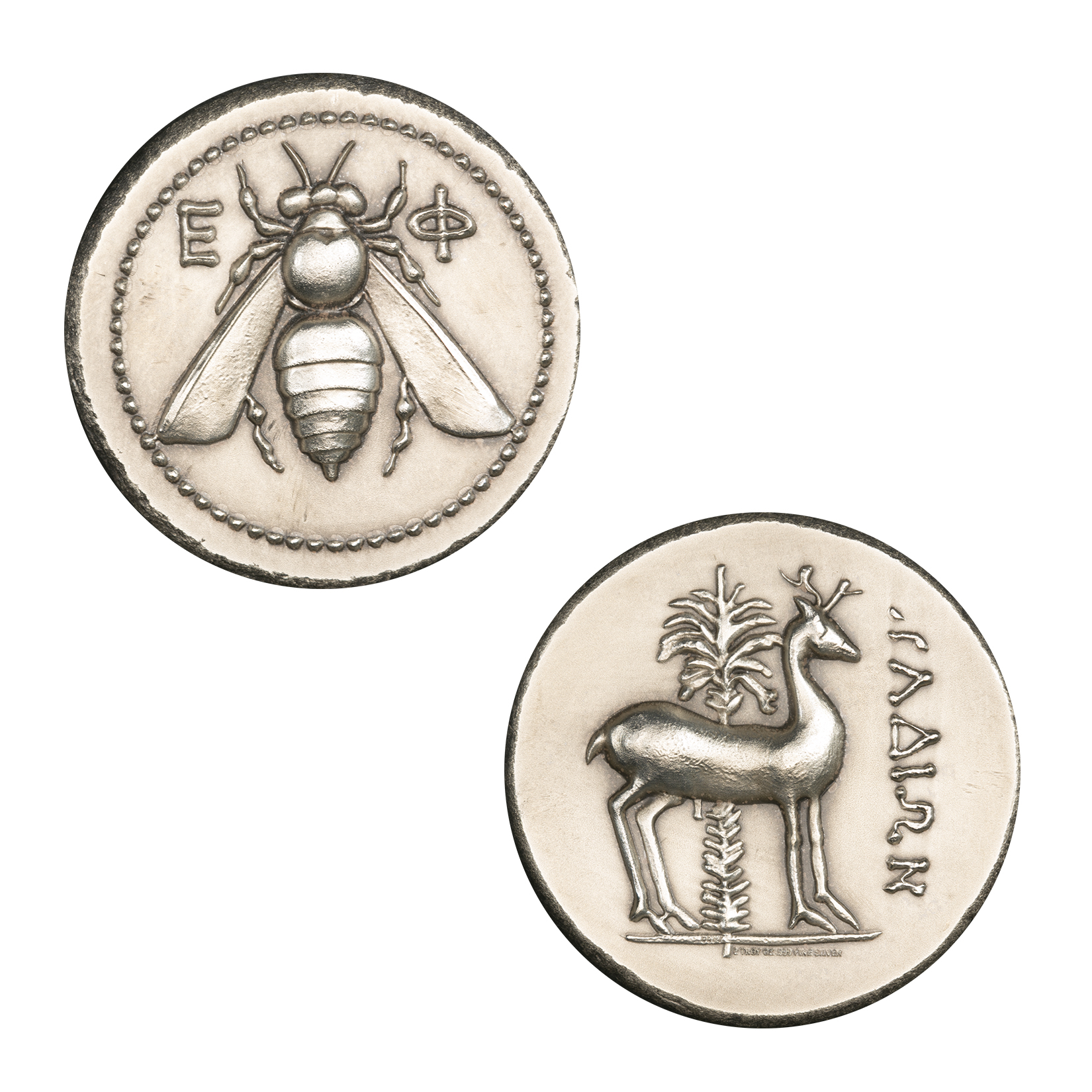 EPHESUS TETRADRACHM – STAG AND BEE – UHR – 2 TROY OUNCE – 36MM – PATINA FINISH –  (LIMITED MINTAGE: 1,000)