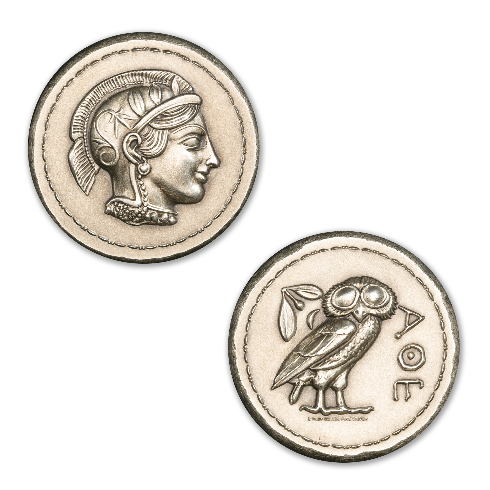 ATHENA AND OWL TETRADRACHM – UHR – 2 TROY OUNCE – 36MM – PATINA FINISH –  (LIMITED MINTAGE: 1,000)