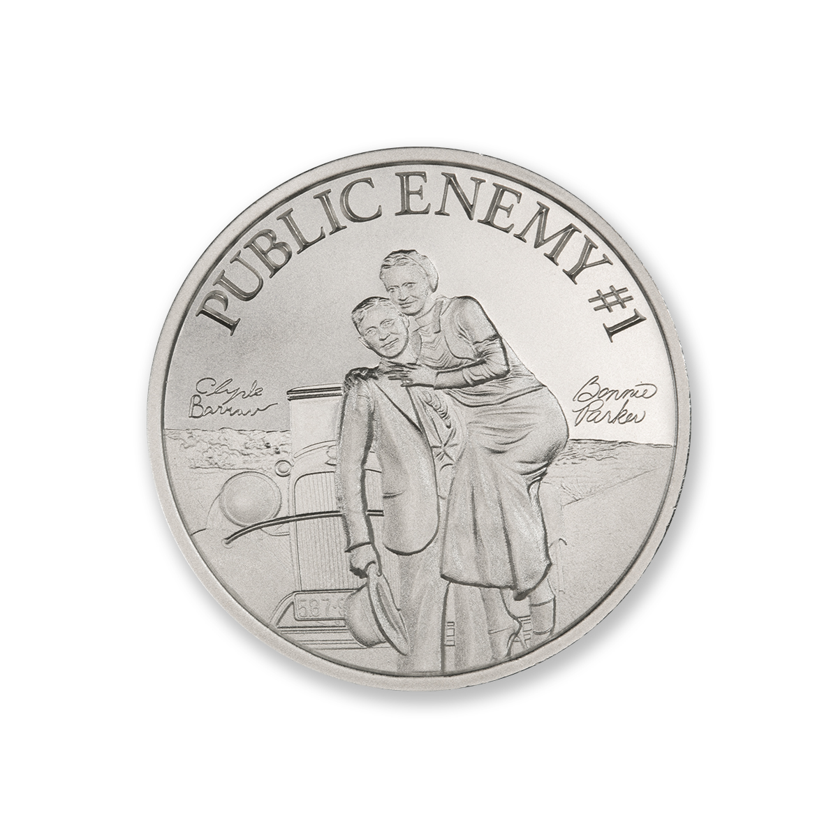 PUBLIC ENEMY #1 – BONNIE AND CLYDE – 2 TROY OUNCE – 39MM