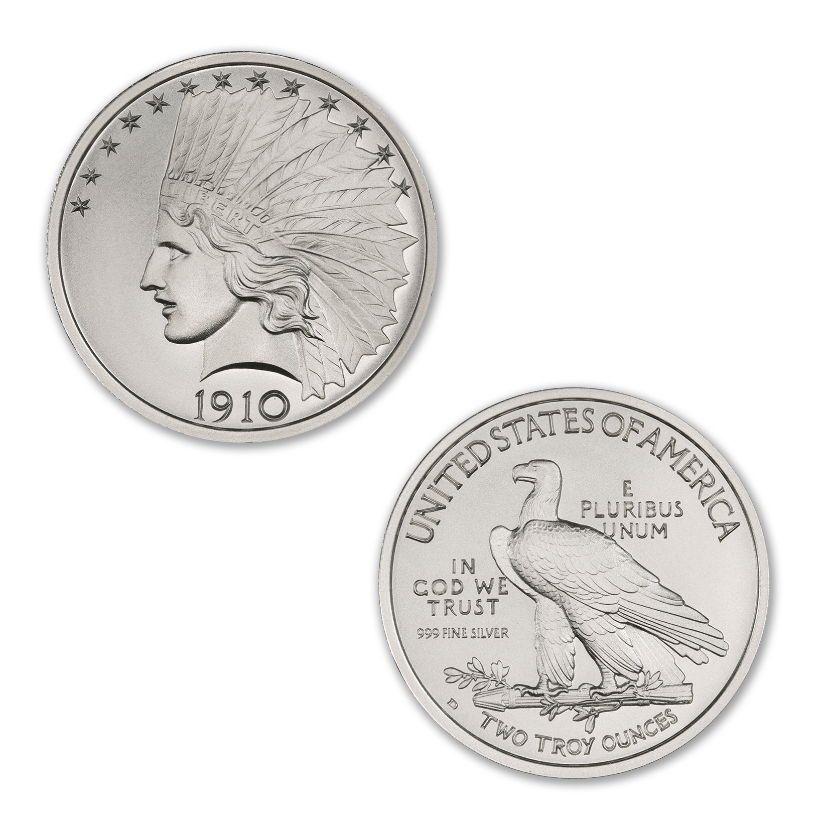 $10 INDIAN TRIBUTE – 2 TROY OUNCE – 39MM