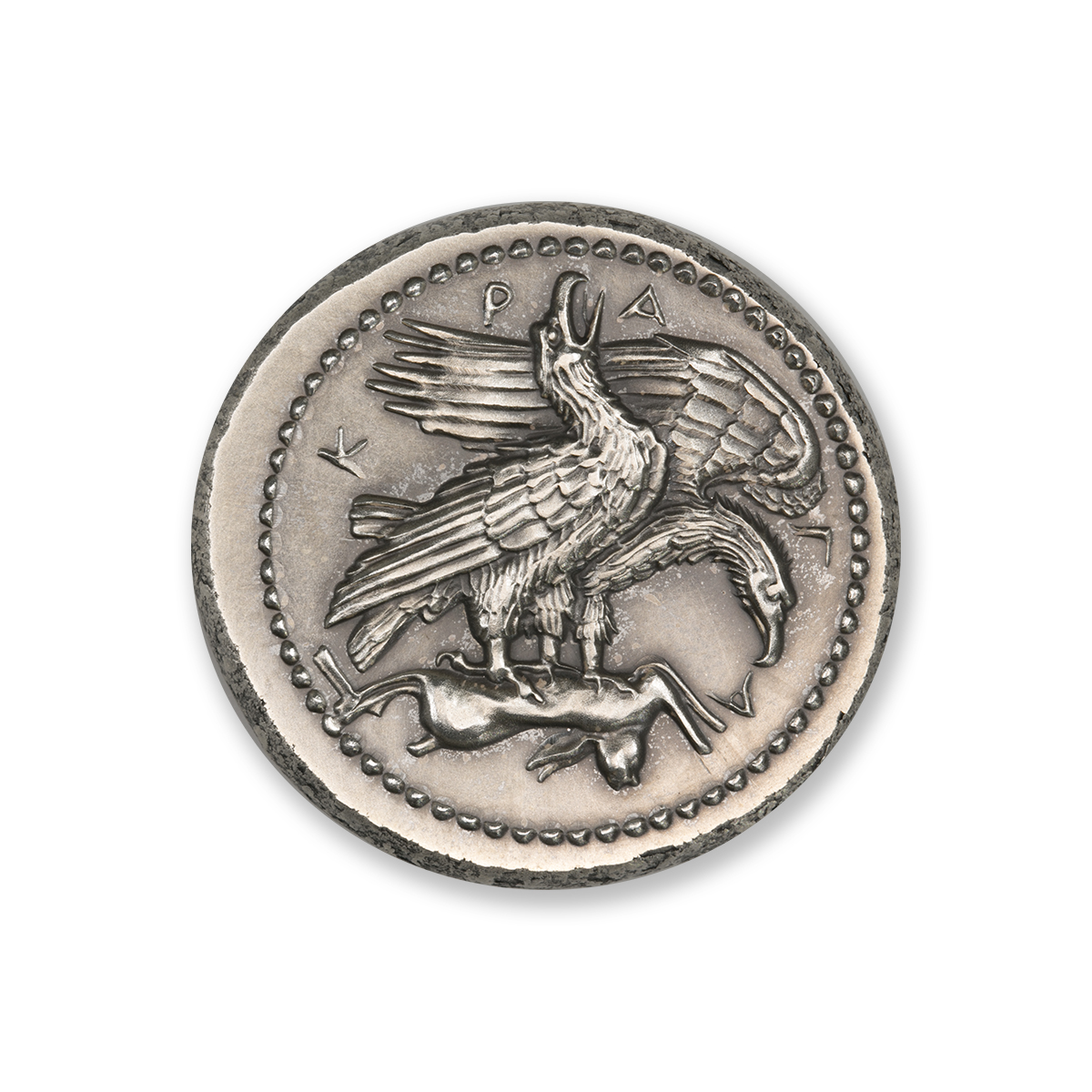 TETRADRACHM OF AKRAGAS – TWO EAGLES AND HARE – UHR – 2 TROY OUNCE – 36MM – PATINA