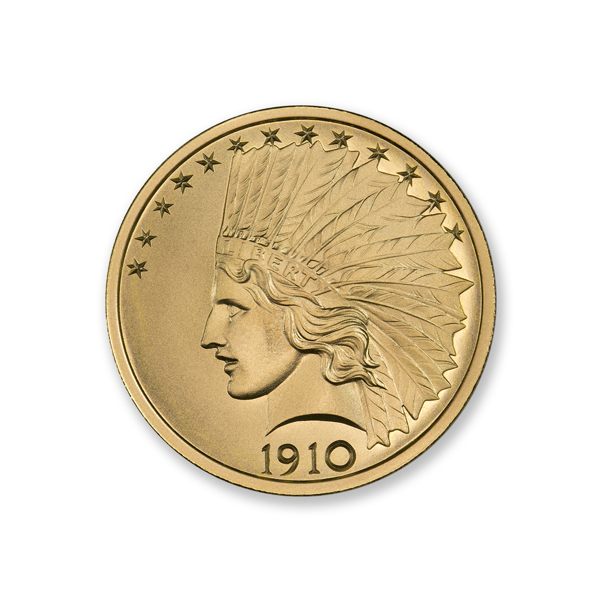 $10 INDIAN TRIBUTE – 2 TROY OUNCE – 39MM – .9999 FINE GOLD