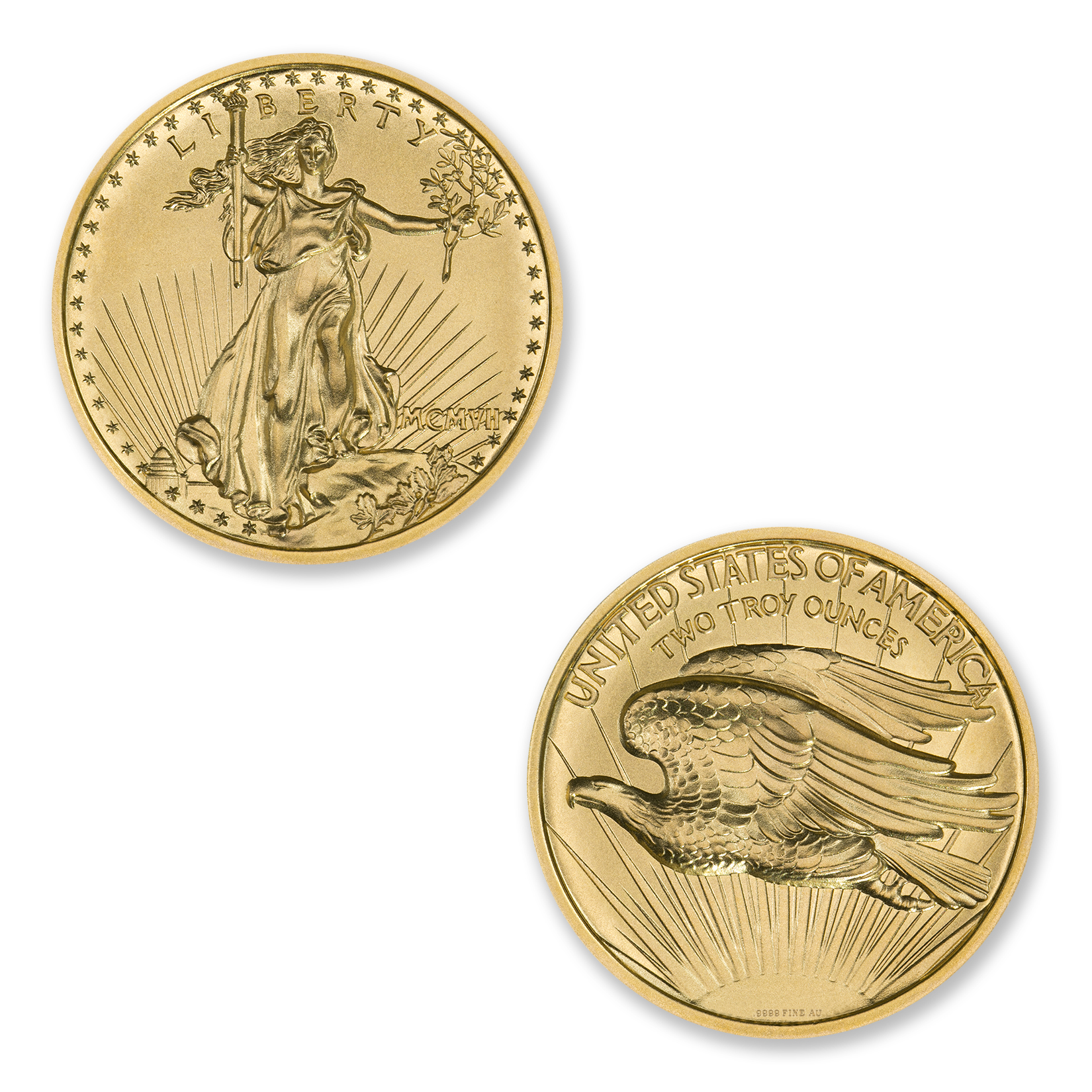 $20 SAINT-GAUDENS – HIGH RELIEF – 2 TROY OUNCE – 39MM – .9999 FINE GOLD