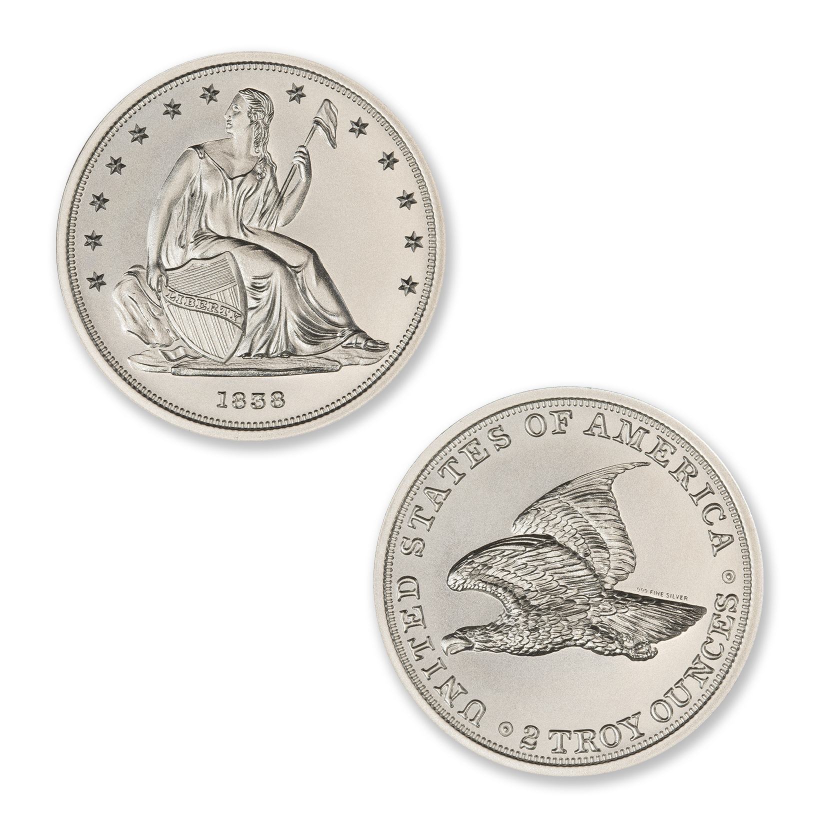 1838 GOBRECHT DOLLAR (J84) TRIBUTE – 2 TROY OUNCE – 39MM