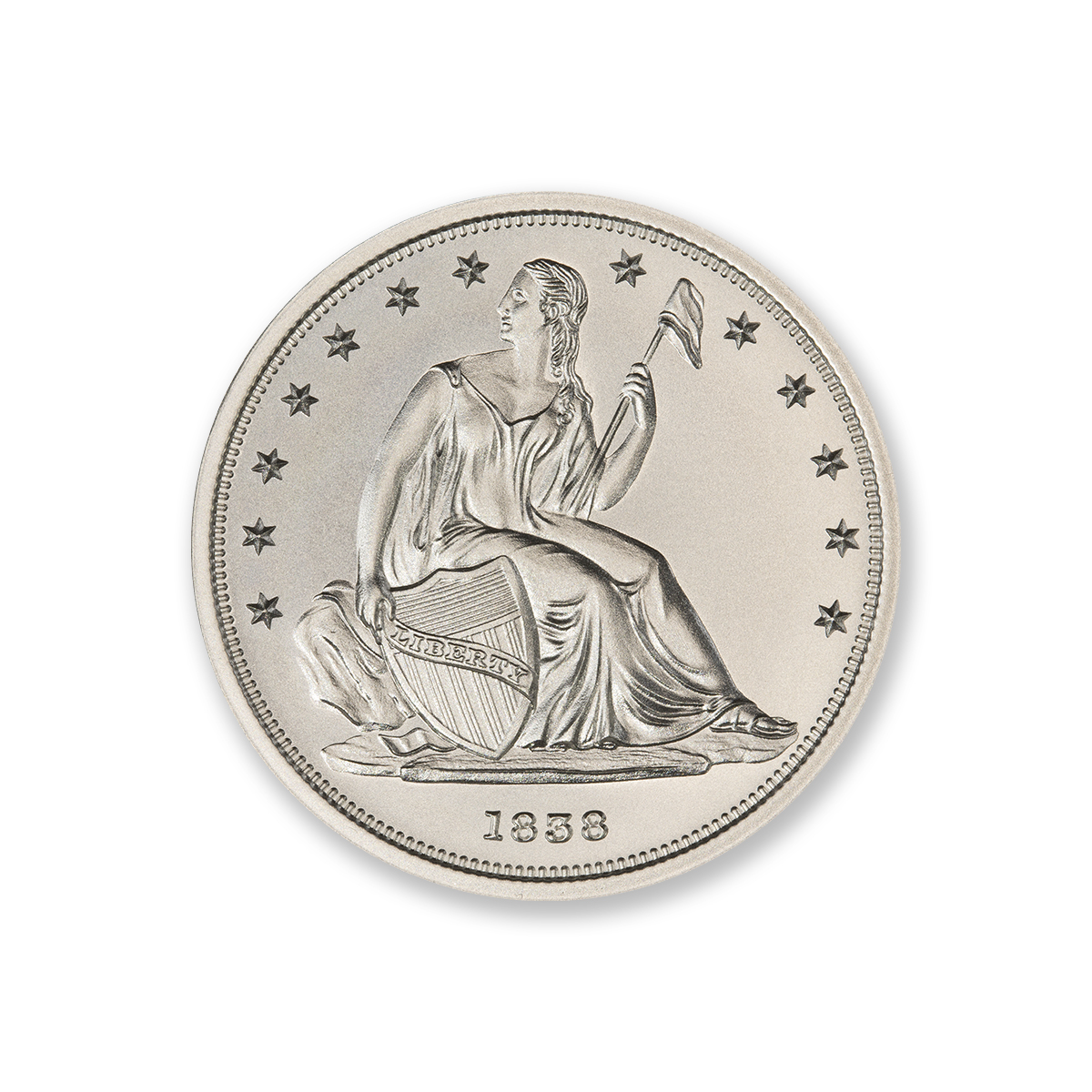 1838 GOBRECHT DOLLAR (J84) TRIBUTE – 2 TROY OUNCE – 39MM