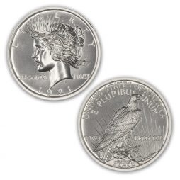 1921 HIGH RELIEF PEACE DOLLAR TRIBUTE – 2 TROY OUNCES – 39MM