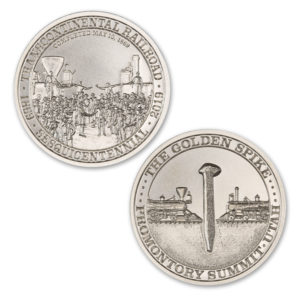 TRANSCONTINENTAL RAILROAD SESQUICENTENNIAL – 2 TROY OUNCE – 39MM