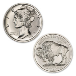 THE MULE CLUB – ISSUE #1 – MECURY DIME OBVERSE / BUFFALO NICKEL REVERSE – 2 TROY OUNCE – 39MM – LIMITED MINTAGE OF 100
