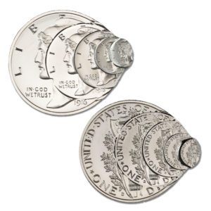 FRACTIONAL MULTI-STRIKE MERCURY DIME TRIBUTE – 2 TROY OUNCE – 50MM (LIMITED MINTAGE: 500)