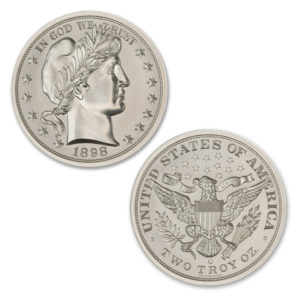BARBER HALF TRIBUTE – 2 TROY OUNCE – 39MM